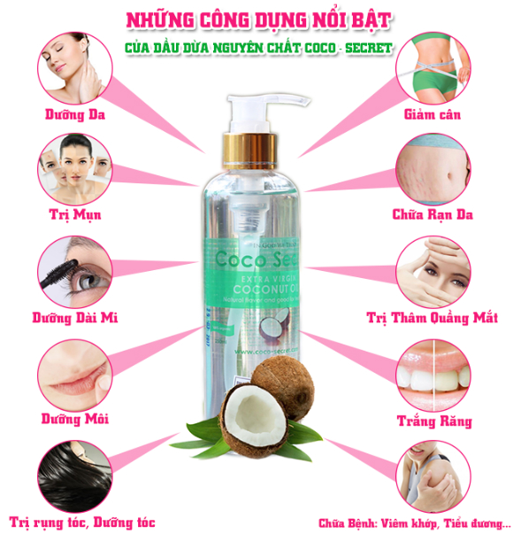 Những công dụng của dầu dừa nguyên chất Coco secret 250ml