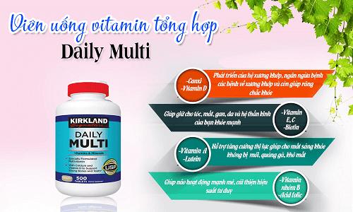 Vitamin tổng hợp Daily Multi Kirkland đem lại cực nhiều công dụng cho cơ thể